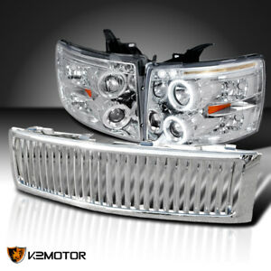 For 207 2012 Chevy Silverado 1500 Clear Projector Headlights vertical Grille