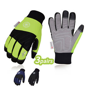 Vgo 1 3pairs 3m Lined Winter Synthetic Leather Work Gloves waterproof sl1015fw