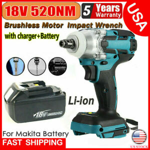 18v 1 2 520nm Torque Brushless Cordless Electric Impact Wrench Driver W battery