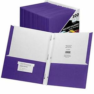 File ez Two pocket Folders With 3 prong Fasteners Assorted Sizes Colors