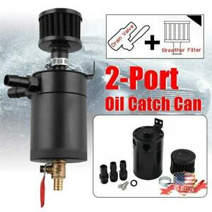Universal 2 port Oil Catch Tank Can Breather Reservoir Drain Valve Kit Us Ship