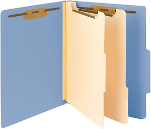Classification File Folder 2 Dividers 2 Expansion 2 5 cut Tab Blue 10 Per Box