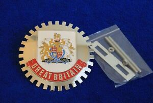 Great Britain Crest Grille Badge License Plate Topper Accessory Fit Mini Jag Mg