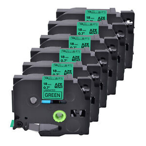 6 Pack Tz 741 Label Tape Black On Green Tze 741 For Brother P touch Pt 1880 18mm