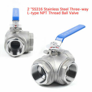 3 way Ball Valve 2 Inch Dn50 L type Thread T Port 1000psi Water Oil Gas Wog L
