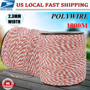 Stainless Steel 3280ft Electric Horse Fence Poly Rope Insulator White Red Wire