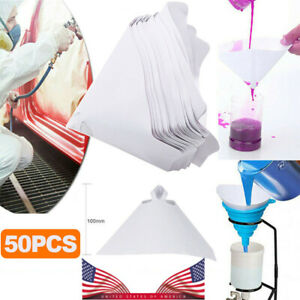 50 Paint 190 Micron Paper Strainer Filter Tip Cone Shaped Fine Nylon Mesh Funnel