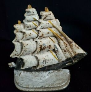 Small Antique Painted Cast Iron Sailing Ship Doorstop Maybe Bookend Hubley