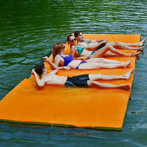 3 Layer Floating Water Pad 12#x27; x 6#x27; Floating Oasis Foam Mat for Relaxing Orange $210.67