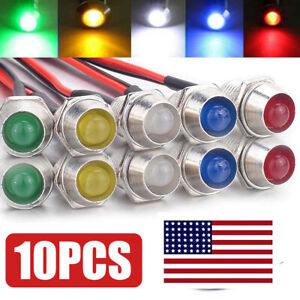 10pcs set 12v Led Indicator Light Warning Lamp Bulb Pilot Dash Panel Car Truck