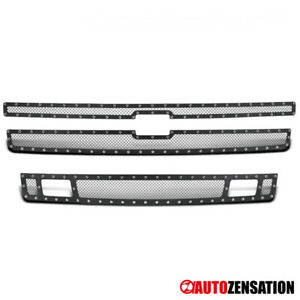 For 2007 2013 Chevy Silverado 1500 Stainless Steel Mesh Black Grille Insert 3pc
