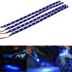 4x Blue Led Strip 15 Smd Car Footwell Under Dash Accent Light Waterproof