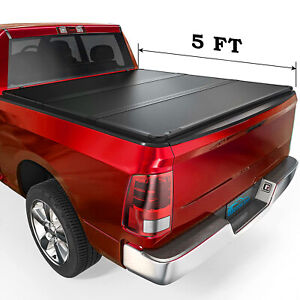 Hard Tri fold Tonneau Cover For 2016 2021 Toyota Tacoma 5ft Short Bed Black Frp