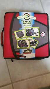 Case It The Mighty Zip Tab 3 Inch Capacity Ring Zipper Binder Red D 146 New