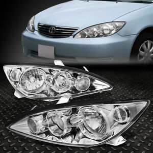 For 05 06 Toyota Camry Chrome Housing Clear Corner Headlight Replacement Lamps