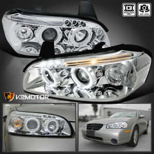 For 2000 2001 Nissan Maxima Clear Clear Led Strip Halo Projector Headlights Pair