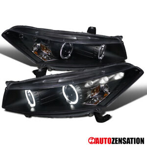 For 2008 2012 Honda Accord 2dr Coupe Black Halo Rim Projector Headlights W Led