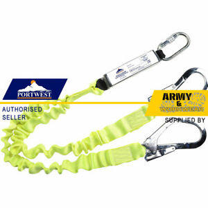 Portwest Safety Harness Double Lanyard Elasticated With Shock Absorber Webbing