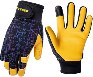 Kids Genuine Leather Work Gloves Safety Gloves Touch Screen Reflective Breat