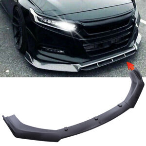 Front Bumper Lip Spoiler Splitters Diffuser Glossy Black For Honda Civic Accord