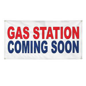 Vinyl Banner Multiple Sizes Gas Station Coming Soon Red Blue Business Outdoor
