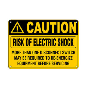 Horizontal Metal Sign Multiple Sizes Caution Risk Electric Shock Than Disconnect