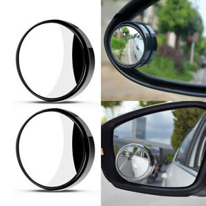 2pcs Car Wide Angle Round Convex Mirrors W frameless Rearview Blind Spot Mirror