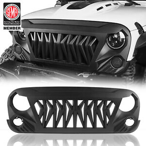 Front Matte Black Shark Grille Replacement Grill For Jeep Wrangler Jk 2007 2018