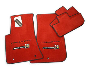 New Dodge Challenger Scat Pack Bee Floor Mats Bright Red Logos Trim Instock