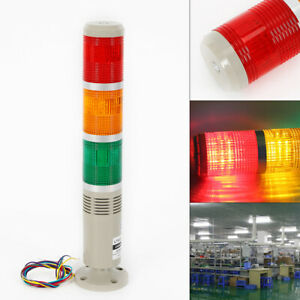 Alarm Warning Stack Light 3led Signal Tower Buzzer Red green yellow 110v Pc abs