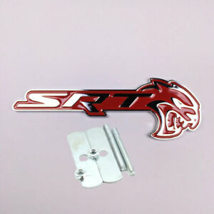 Alloy Red chrome Srt Hellcat Grille Emblem Badge Universal For Dodge Charger