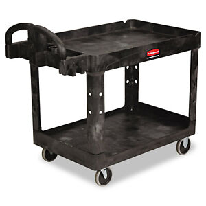 Rubbermaid Commercial Rcp452088bk Heavy duty Utility Cart 2 shelf Black