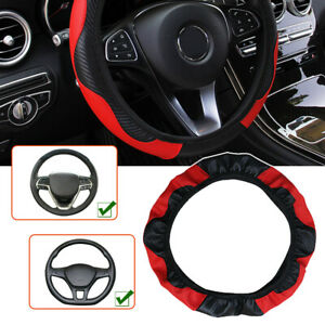 Red Universal Car Microfiber Leather Steering Wheel Cover Accessories 38cm 15