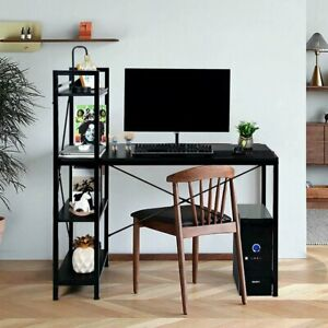 Home Office Modern Computer Desk W 4 tier Shelves Pc Workstation Study Table Us