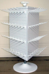 3 Sided White Plastic Counter Top Peg Board Spinner Rack Display With Hooks
