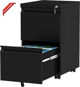 Yitahome 2 drawer Filing Cabinet Office Drawers With Lock Portable Metal File C