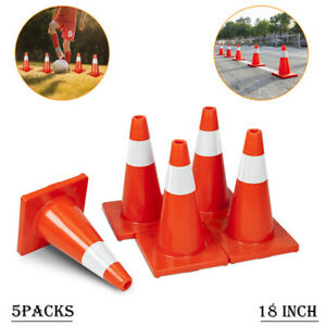 18 Traffic Safety Cones Reflective Collars Overlap Parking Construction 5pcs
