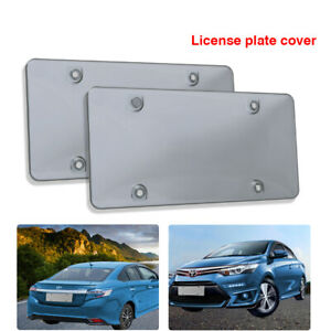 2pcs Clear Flat License Plate Cover Frame Shield Plastic Protector For Car
