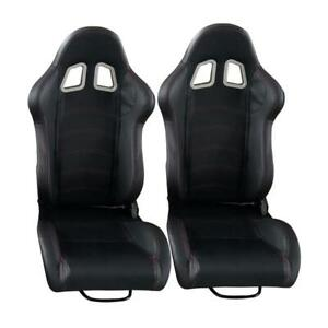 2 Pc Universal Black Car Racing Seats Pvc Faux Leather Reclinable Bucket sliders