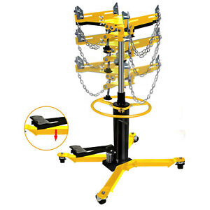 1660lbs Transmission Jack 2 Stage Hydraulic W 360 For Car Lift 0 75 Ton Yellow