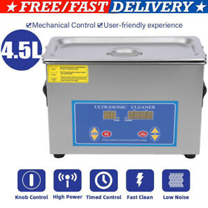 New Stainless Steel 4 5 Liter Industry Heated Ultrasonic Cleaner Heater W timer