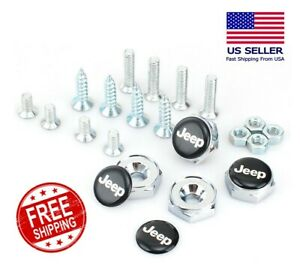 4pcs License Plate Frame Security Screw Bolt Caps Covers For Jeep
