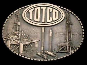 Qe04152 Great 1981 totco Offshore Derrick Drilling Rig Oilfield Buckle