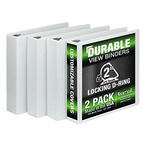 Samsill 3 Ring Durable View Binders 4 Pack 2 Inch Locking D ring Non stick