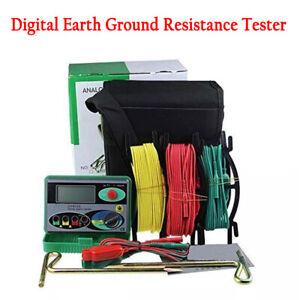 Digital Earth Ground Resistance Tester Power Systems Inspection Tool Multimeter