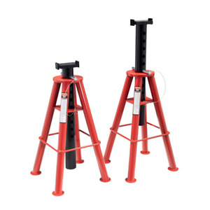 10 ton High Height Pin Type Jack Stands pair 4 Leg Steel Base V shape Saddle