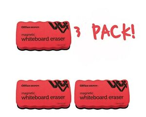 Lot Of 3 three Office Depot Magnetic Whiteboard Erasers New Free Shipping