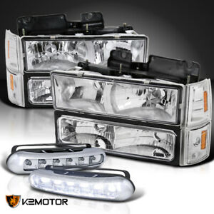 94 98 Gmc Sierra Clear Headlights Bumper Corner Signal Lamps Led Drl Fog Lamps