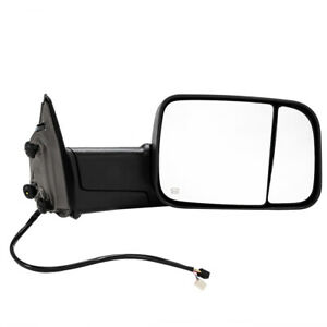 Manual Tow Mirror For 09 12 Dodge Ram Truck Passengers Side Black Textured
