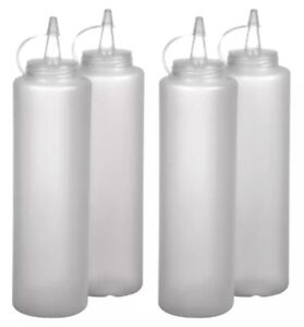 4 Clear Plastic Squeeze Bottle Condiment Dispensers 12oz Ketchup Mustard Sauce